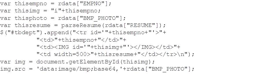 of interest in this code section possibly is the parseresume function and the tagging of the image data to get html clients to display it as a bmp - Restful Web Services Resume
