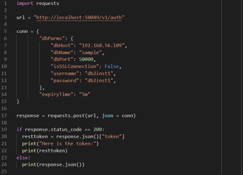 DB2 REST API Import Requests