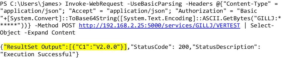 DB2 REST API Result Set Output